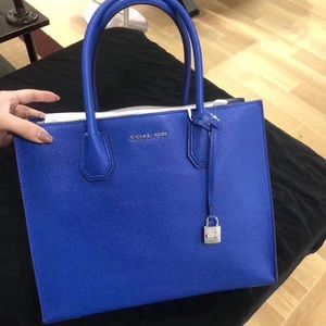 75397edac4fbec Michael Kors Bags - MK Mercer Large Bonded Leather Tote Electric Blue